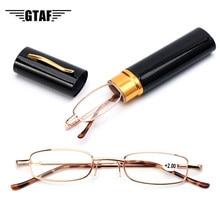Caneta titular primavera óculos de leitura portátil para homem e mulher caixa de metal primavera dobradiça óculos de visão cuidados + 1.00 glasses + 4.00