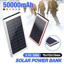 Banco de energía portátil 50000mah batería externa 2 USB LED Cargador Solar del teléfono móvil