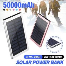 Portable Power Bank 50000 MAH Baterai Eksternal 2 USB LED Powerbank Ponsel Solar Charger