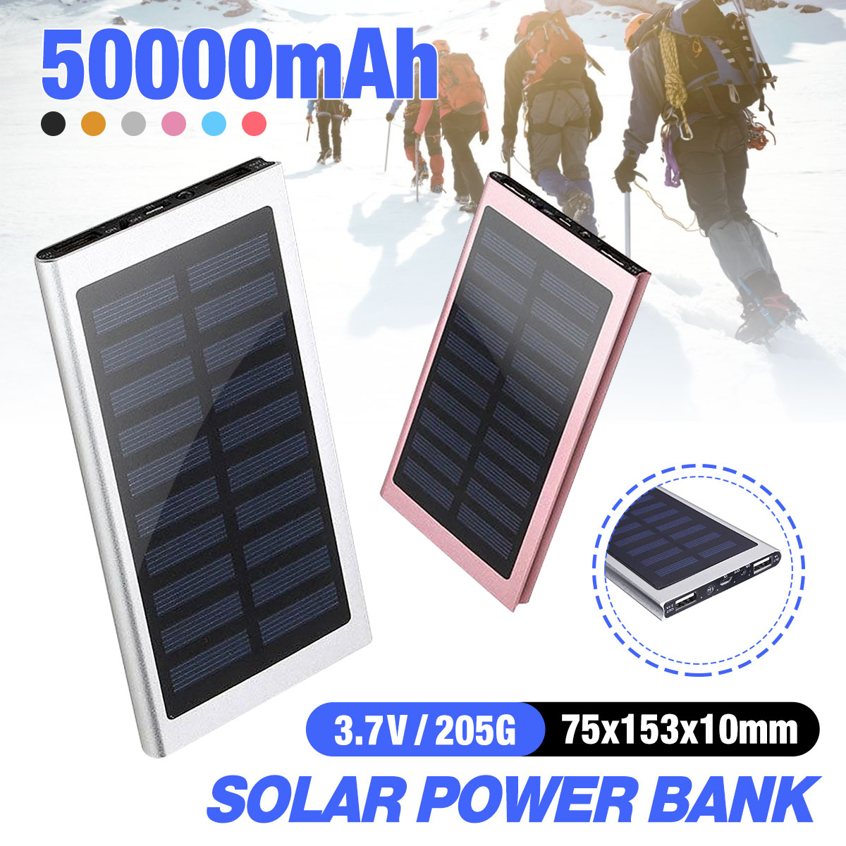 Portable Power Bank 50000mah External Battery 2 USB LED Powerbank Mobile Phone Solar Charger