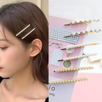 2pcs/set Restone Pearl Hair Clips Bang Side Clips Barrette Stick Hairpin Hair Styling Accessories For Women Girlshin image