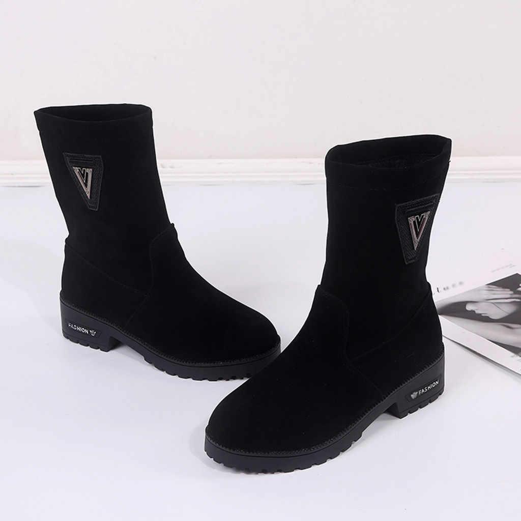 Rahat bayan botları bayan moda sonbahar kış sıcak düz orta buzağı platformları kalın topuklu çizmeler bayan ayakkabı şişeler femme