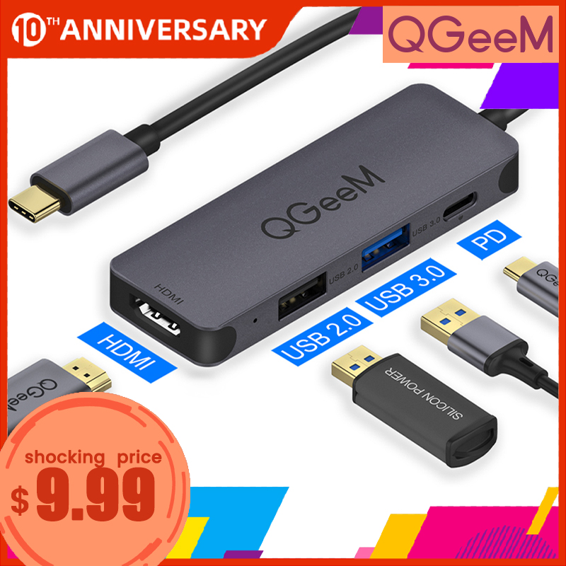 QGeeM USB C Hub For Macbook Pro Multi USB 3.1 Type C Hub 3.0 2.0 USB C HDMI Adapter PD Dock For Huawei Mate 20 Pro OTG Splitter