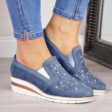 HEE GRAND Women Casual Leather Creepers 2019 Platform Sneakers Elastic Slip On Flats Gray Rhinestone Shoes Female XWD7857
