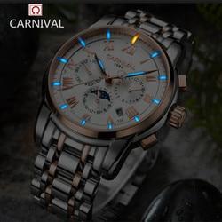 Karnawał zegarek mężczyźni szwajcaria luksusowa marka fazy księżyca zegarek tryt świetlny wojskowy mechaniczne zegarki męskie ze stali nierdzewnej zegary relojs w Zegarki sportowe od Zegarki na