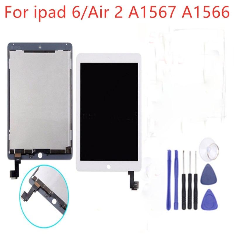 1 pièces nouveau pour iPad 6 pour Apple iPad Air 2 A1566 A1567 LCD affichage assemblée écran tactile numériseur panneau avec 3 cadeaux