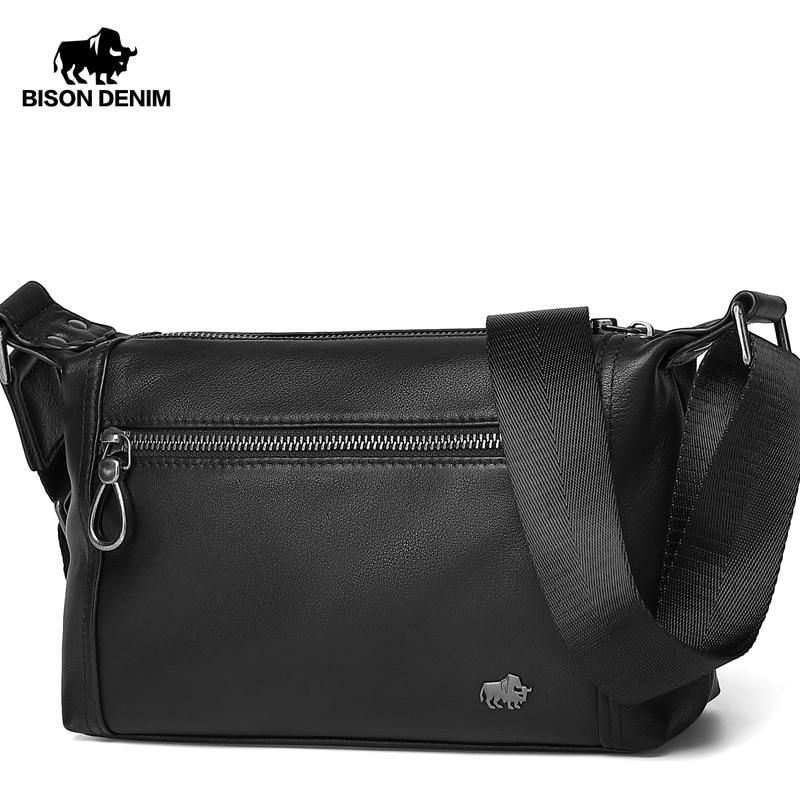 BISON DENIM Genuine Leather Business Crossbody Bag iPad Mens Messenger Bag Classic  Chest Pack Shoulder Bag  N20029