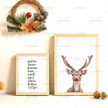 Christmas Gift Canvas Painting Holiday Wall Art Paintings Reindeer Poster Nursery Decor Pictures For Living Room