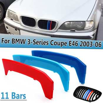 For BMW 3-Series E46 For Coupe 2 Door 2003 2004 2005 2006 3D Stickers M Color Grille Grill Cover Clip Trim ABS Decoration image