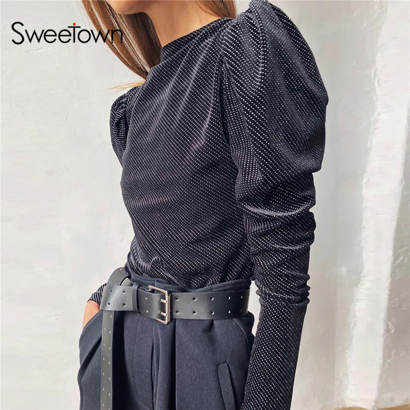 Sweetown Puff Long Sleeve Winter Bodysuit Vintage 2019 Autumn Female O Neck Slim Fashion Solid Basic Bodycon Bodysuits Elegant