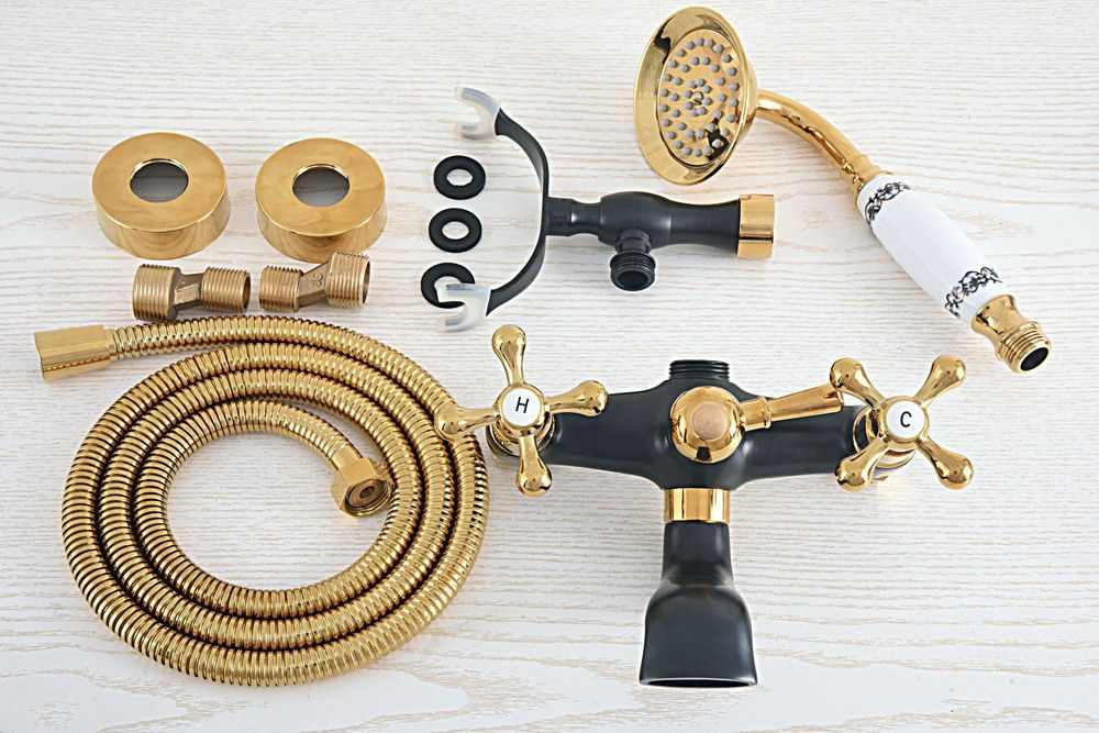 Czarny złoty kolor mosiądz podwójny krzyż uchwyty bateria do wanny i prysznica do montażu na ścianie wanna kran z prysznicem Handheld opryskiwacz zna457