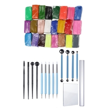 SHGO HOT-2 Set Modeling Tool 1 Set 15 Pieces Carving Modeling Tool Set amp 1 Set Mixed Colour 24 Soft Sculpey Oven Bake Polymer C cheap Hand Tool Parts Stainless Steel Home DIY