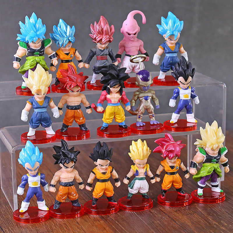 16 Stks/partij Dragon Ball Super Saiyan God Action Figure Son Goku Gohan Vegeta Vegetto Frieza Zamasu Ultra Instinct Model Speelgoed gift