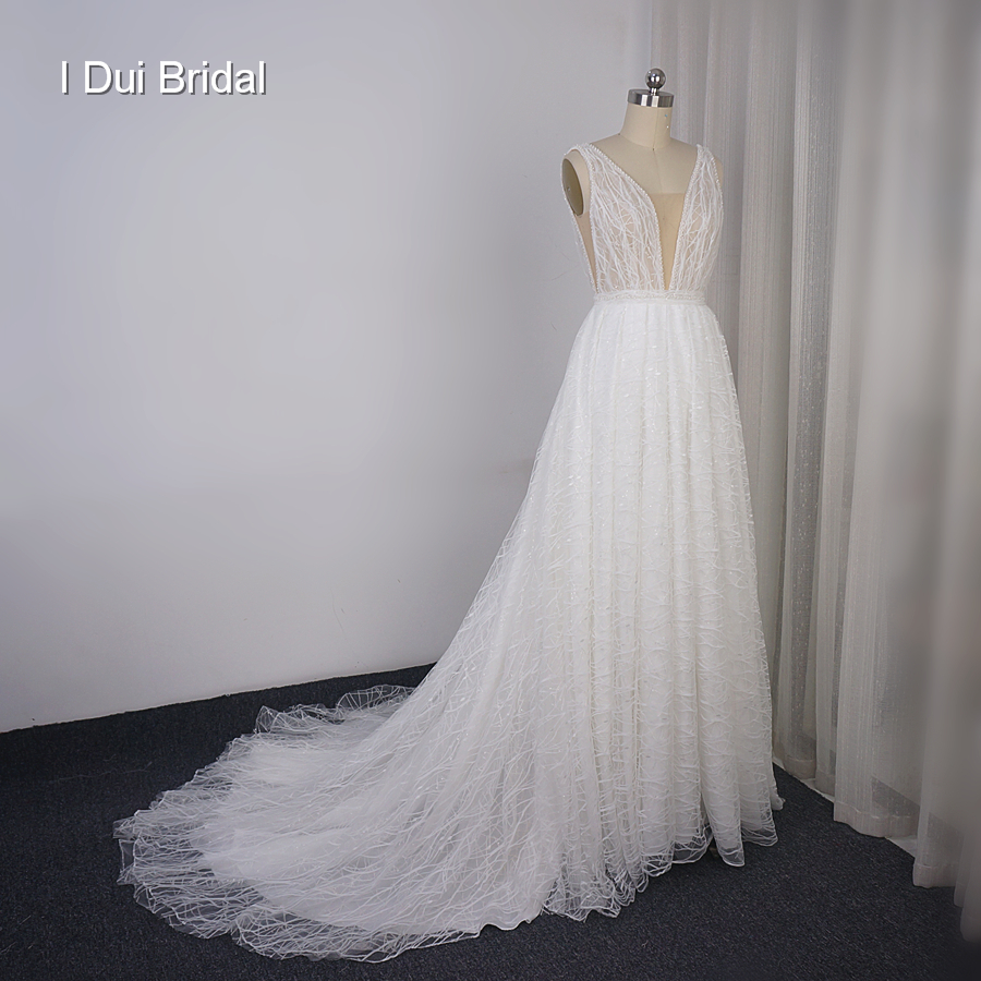 Plunging Neckline Wedding Dress Lace Shinny Bridal Gown Factory Custom Made