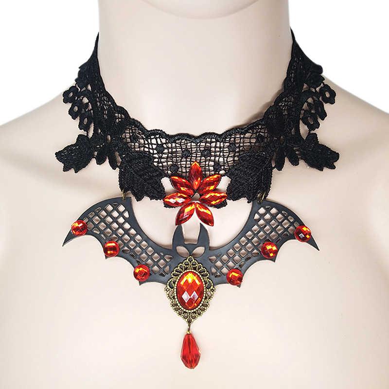 Gothic Choker Batu Hitam Renda Seksi Leher Kalung Kalung Vintage Victorian Wanita Deasin Steampunk Halloween Perhiasan