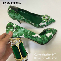 2019 Green Banana Leaf Pumps For Women Pointed Toe Rhinestone Diamond Flower High Heel Shoes Woman Fashion Party Shoes Plus Size