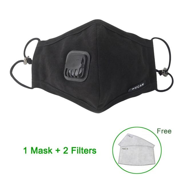 KN95 Anti Dust PM2.5 Flu Mouth Mask Filter Respirator Breath Valve Black Masks Cotton Washable Face mask Man Women 3