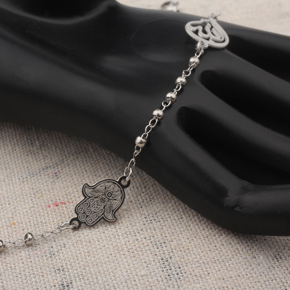 FINE4U B228 Stainless Steel Muslim Hamsa Charms Bracelet 3mm Gold Color Beads Bracelets Islam Koran Rosary Jewelry For Women
