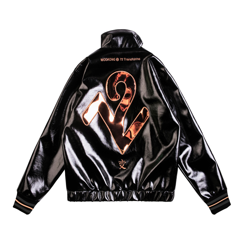 Wookong 2019 Autumn/winter New In Unisex Loose Jacket Tide Men's Leather Jacket With Bronze 72 Mirrored