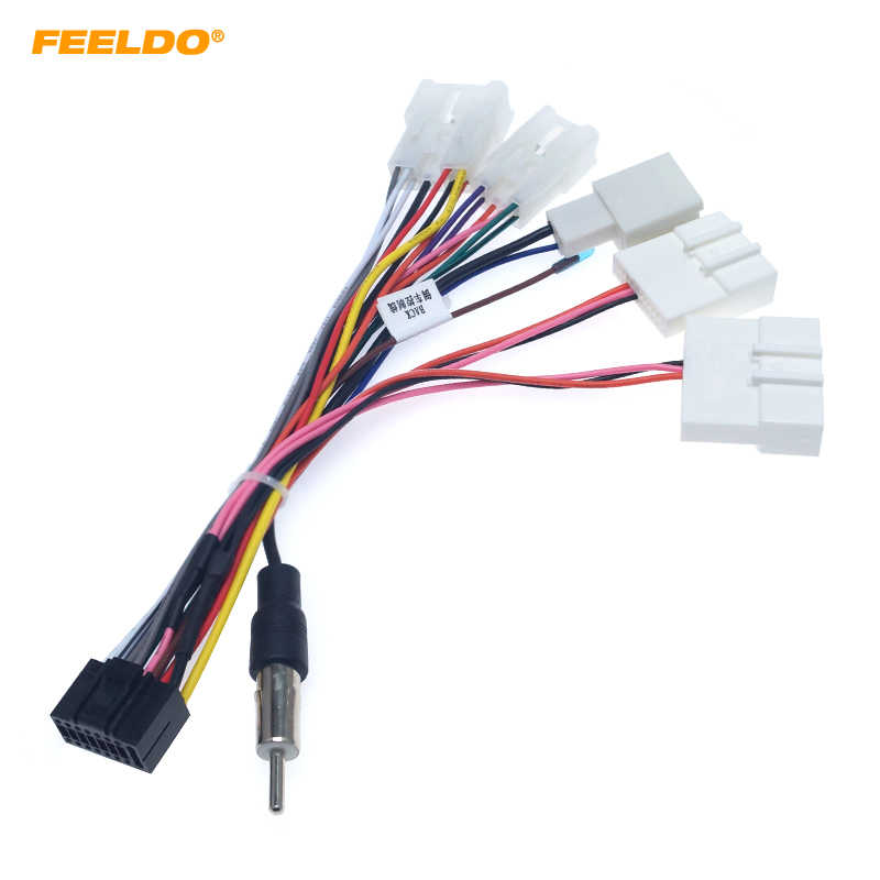 Feeldo Autoradio 16PIN Adapter Kabelboom Voor Toyota Audio Power Calbe Draad Plug Head Unit Harness # HQ6382
