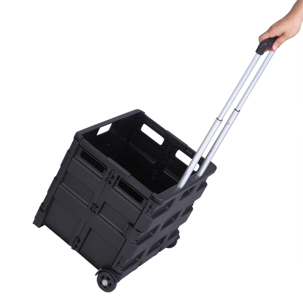 Rolling Utility Cart Heavy Duty Light  Weight 80LB Load Capacity Collapsible Handcart Plastic Shopping Trolley Without Cover