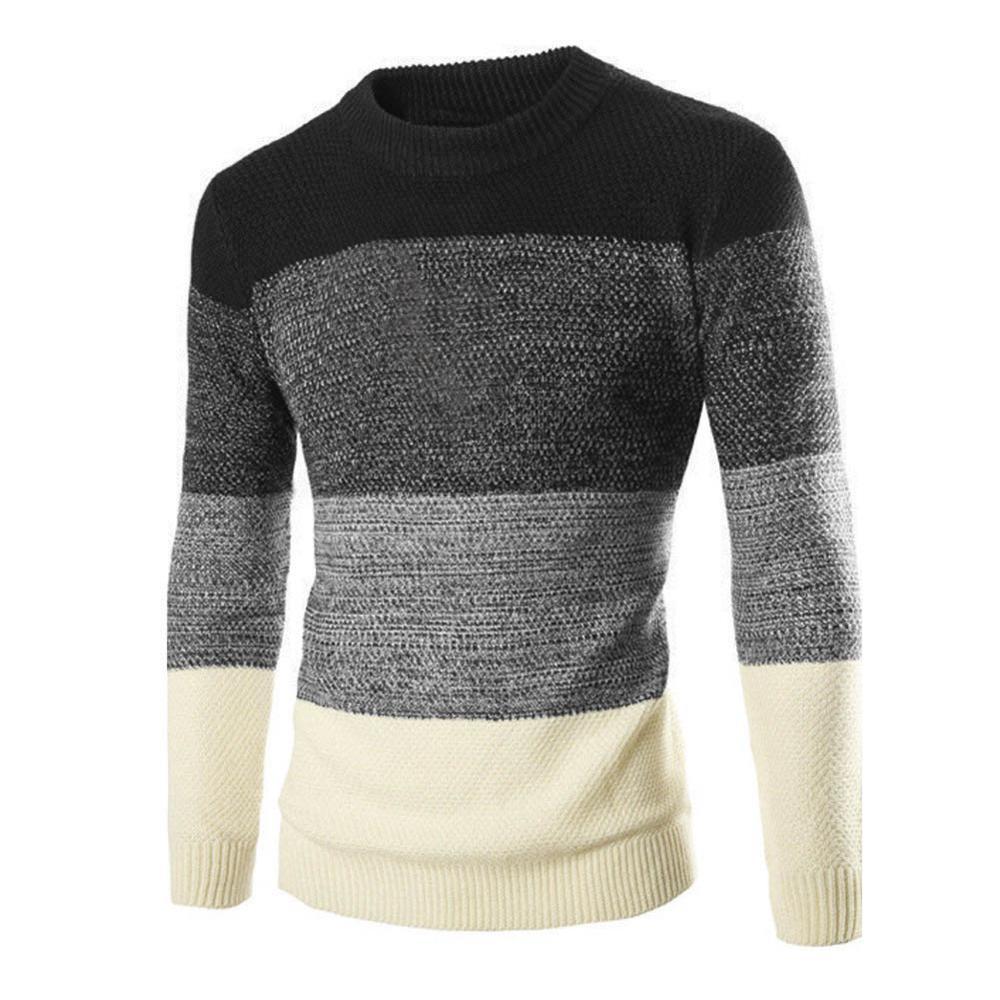 Fashion 2019 Autumn Winter Inter-color Skinny Stretch Men's Sweater Turtleneck British Slim Round Collar Color Block Pullover