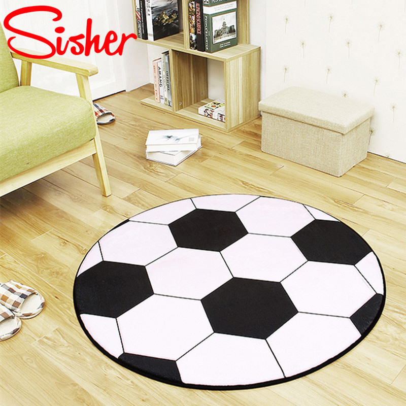 Anti-slip Polyester Ball Round Carpet Computer Chair Pad Football Basketball Living Room Mat Children Bedroom Rugs Bedroom