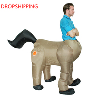 Halloween Costume for Men Adult Centaurus Inflatable Horse Costume Human Face Horse Body Cosplay Fancy Party Dress
