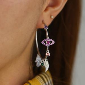 Image 3 - Colorato cz pavimentato di lucky charms orecchino ad anello dellocchio diabolico ala della mano di hamsa splendida stunning europeo delle donne degli orecchini