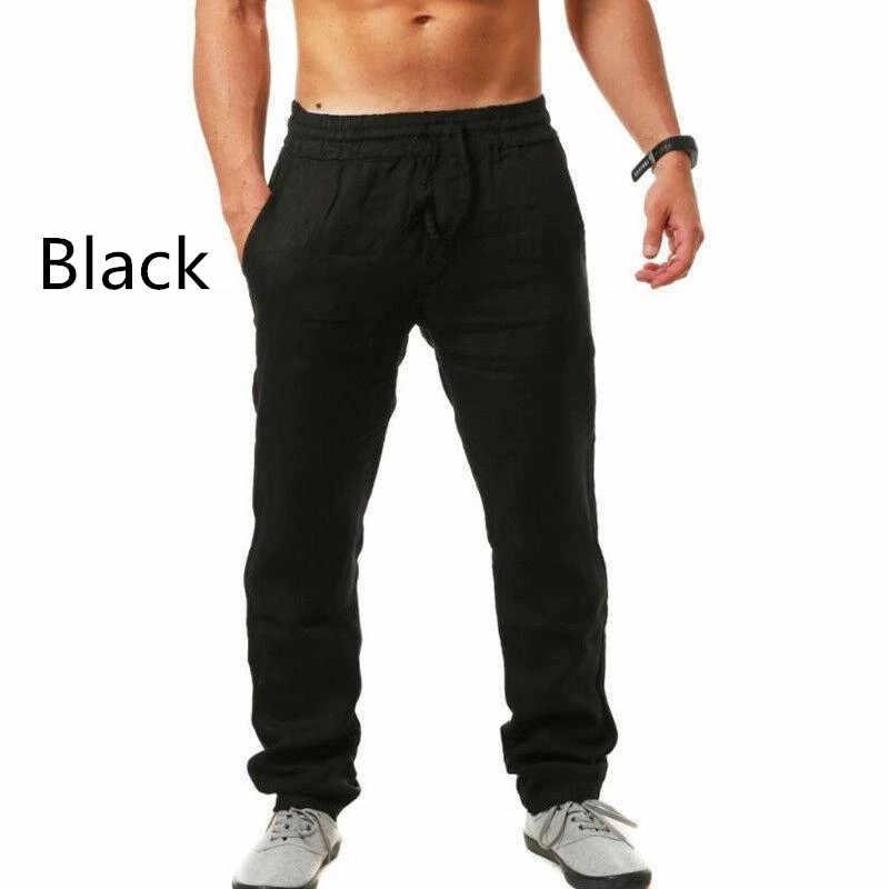 2019 męskie bawełniane i lniane spodnie Linho Verao Calcas Dos Homens Com Cordao luźne spodnie męskie stałe spodnie Harem S-3XL