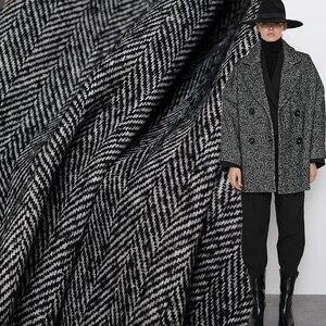 Белый Waxberry Черный Елочка твид 100% шерсть ткани материалы для одежды зимние женские пальто швейная ткань портной Бесплатная доставка