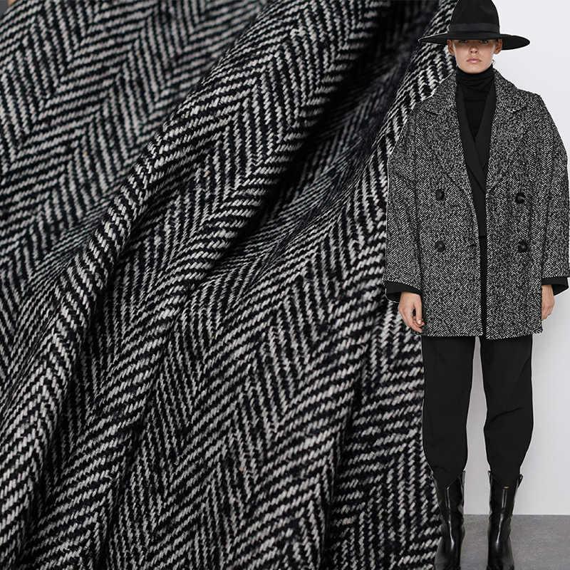 Nuevo Diseño Italiano De Lana Espiga Abrigo Chaqueta de material de tela