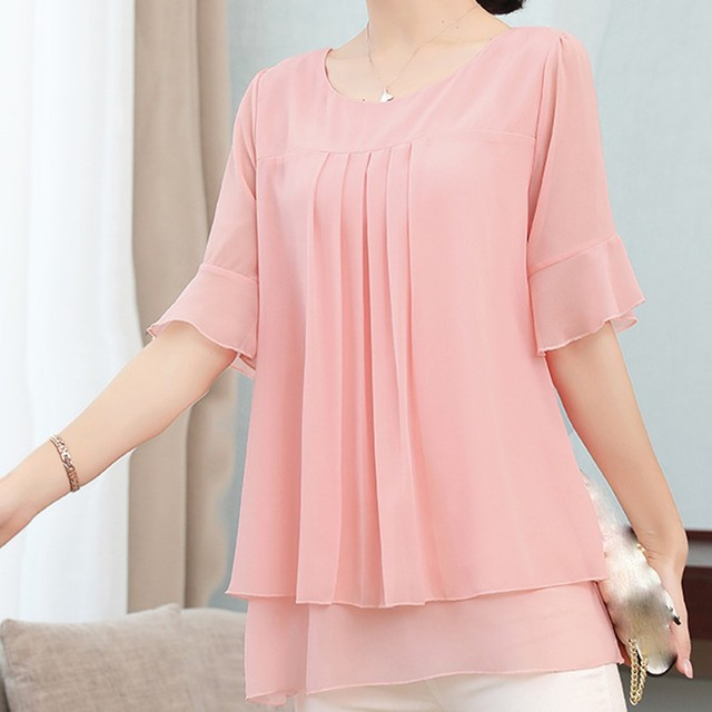 Lady Solid Color Blouse Women Yellow Fashion Top Chiffon Short Sleeve Casual Shirt Blouse Elegant Office Wear Femme