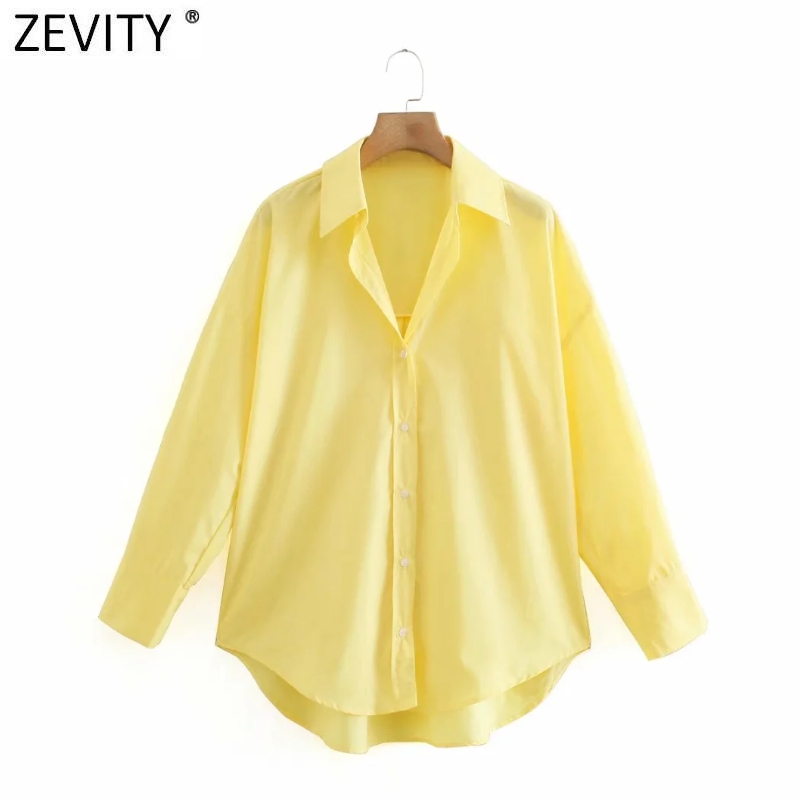 Zevity New Women Simply Candy COlor Single Breasted Poplin Shirts Office Lady Long Sleeve Blouse Roupas Chic Chemise Tops LS9114 3