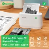 PeriPage Portable Thermal Bluetooth PrinterA9 203dpi Thermal Picture Photo Invoice Mini Wireless Printer for Android IOS
