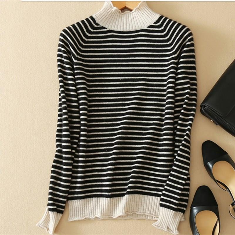 Women Autumn Casual Turtleneck Cashmere Sweaters Striped Female Warm Knitted Sweaters Cashmere Slim Stripe Pullover