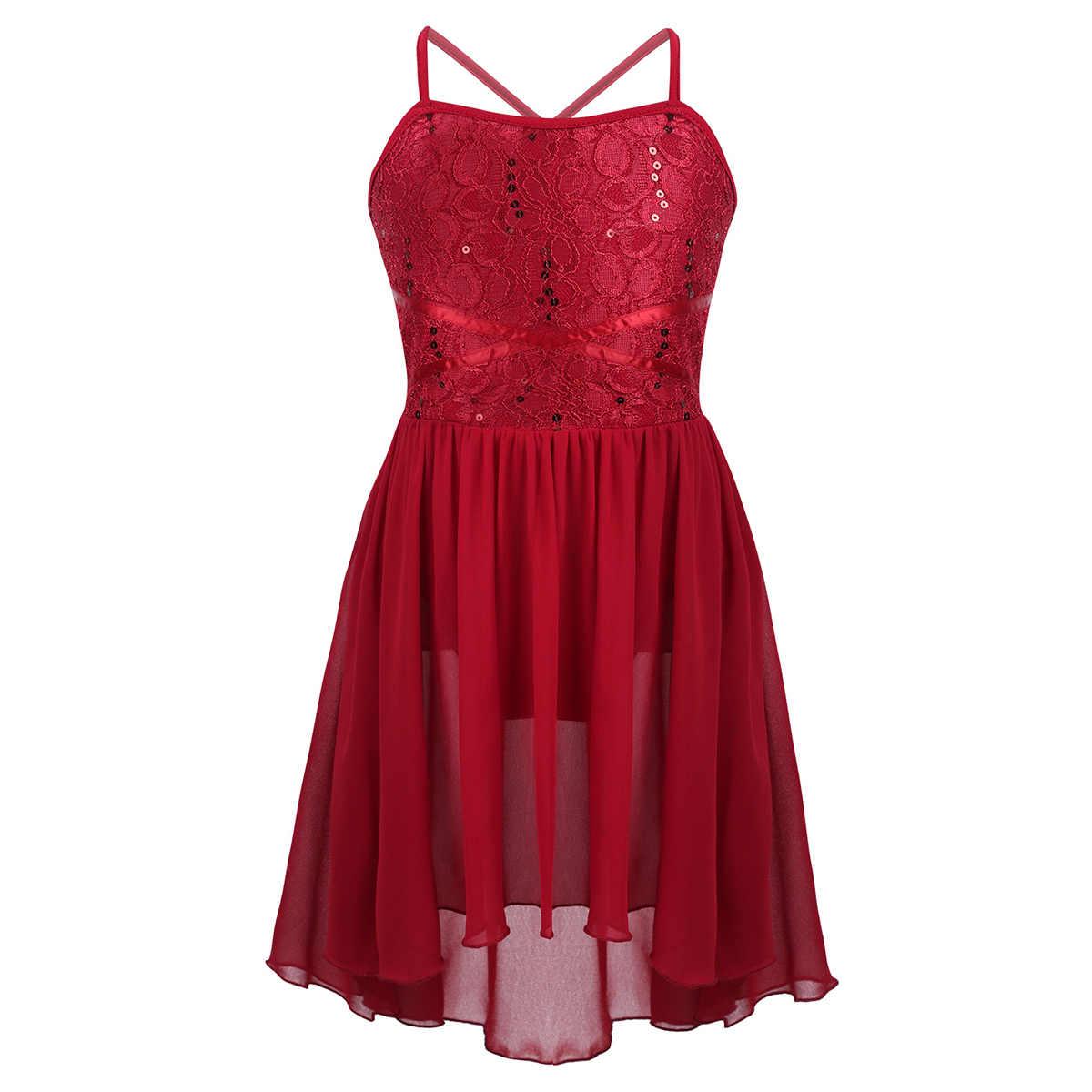 Çocuk kız bale pullu dantel Leotard yüksek düşük Hem şifon elbise lirik dans kostümü Modern çağdaş balo salonu dans elbise