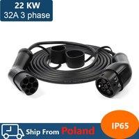 22kw 32A drei phase ev kabel typ 2 zu typ 2 EV ladegerät für elektrische fahrzeug iec 62196 32a evse kit