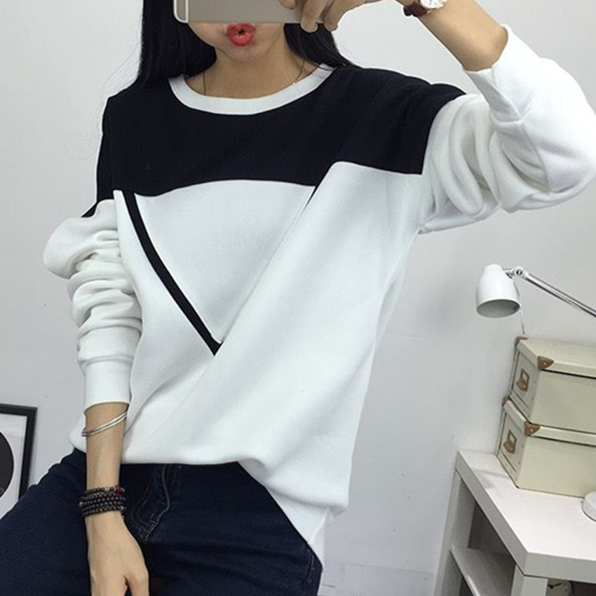 2019 Winter New Fashion Black and White Spell Color Patchwork Hoodies Women V Pattern Pullover Sweatshirt