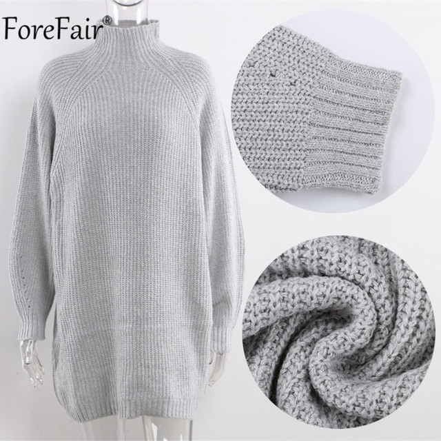 Forefair Turtleneck Long Sleeve Sweater Dress Women Autumn Winter Loose Tunic Knitted Casual Pink Gray Clothes Solid Dresses 6