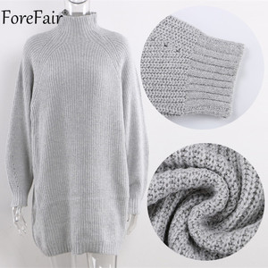 Image 5 - Forefair Turtleneck Long Sleeve Sweater Dress Women Autumn Winter Loose Tunic Knitted Casual Pink Gray Clothes Solid Dresses
