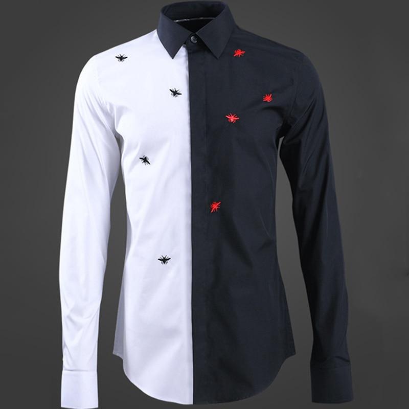 Nouvelle couleur correspondant hommes chemise broderie noir rouge abeille mode haute qualité homme à manches longues chemise européenne style américain hauts