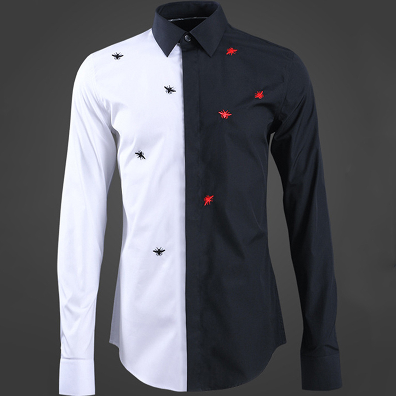 new color matching men's shirt embroidery Black Red Bee fashion high quality man long sleeve shirt European American style tops