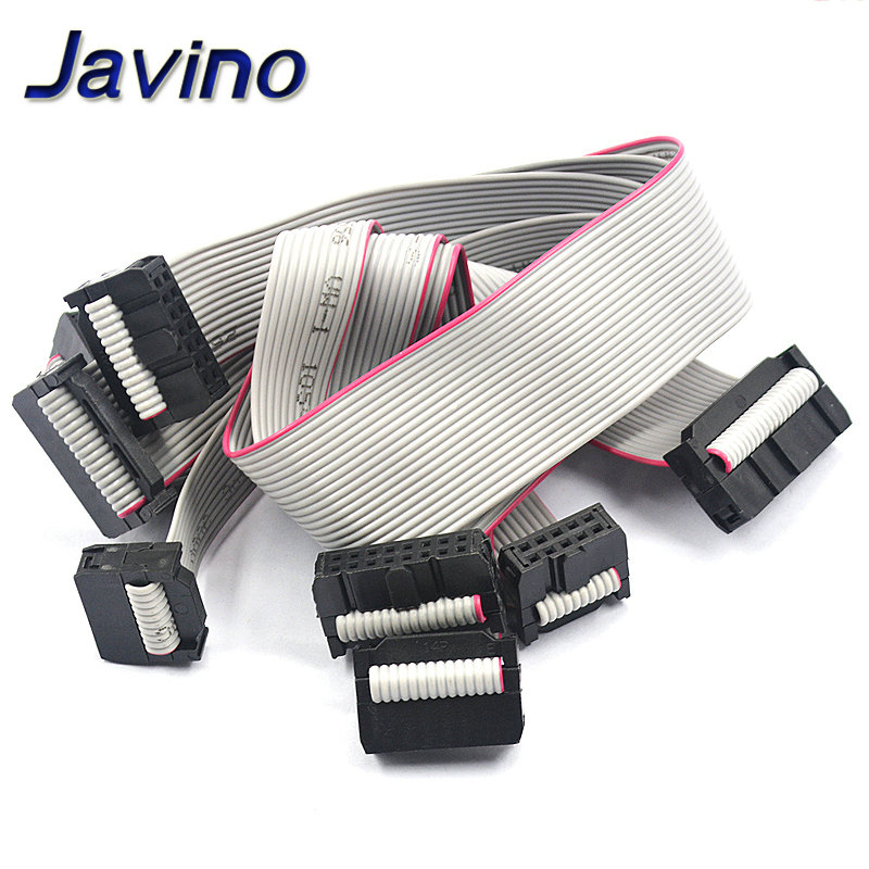 2.54MM Pitch JTAG ISP AVR Download Cable Wire FC-6/10/14/16/20/40P PIN Connector Gray Flat Ribbon Data Cable 30CM
