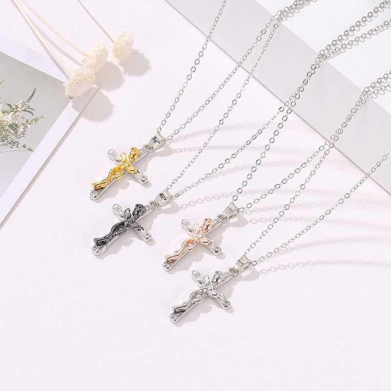 """Pretty Rose Flower Crucifix Cross 18/"""" Chain Necklace in Gift Bag"""