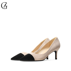 GOXEOU Women's Pumps Flock Pointed Toe 6 8 10 CM High Heels Party Business Casual Elegant Fashion Office Lady Shoes Size 32-46