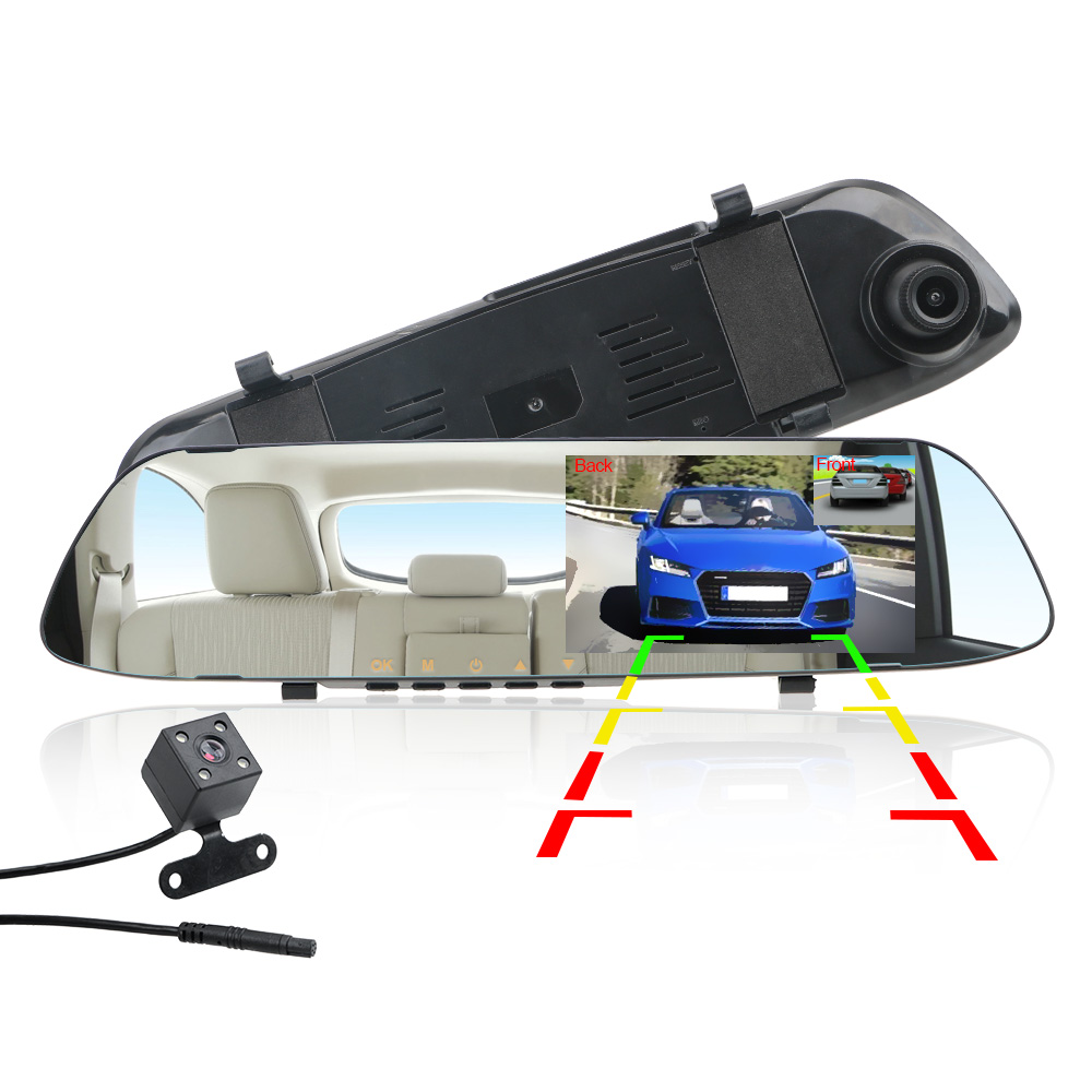Dual Channel Rearview Mirror Recorder Reversing Image IPS Screen Night Vision Driving Recorder Video Car DVR Dash Camera