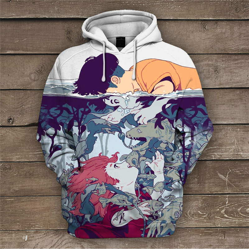 2019 Hot New Sweatshirt Customize Ponyo Cartoon 3D Printing Hoodies Fashion Hooded Pullovers Tops Men's Clothing Drop Shipping