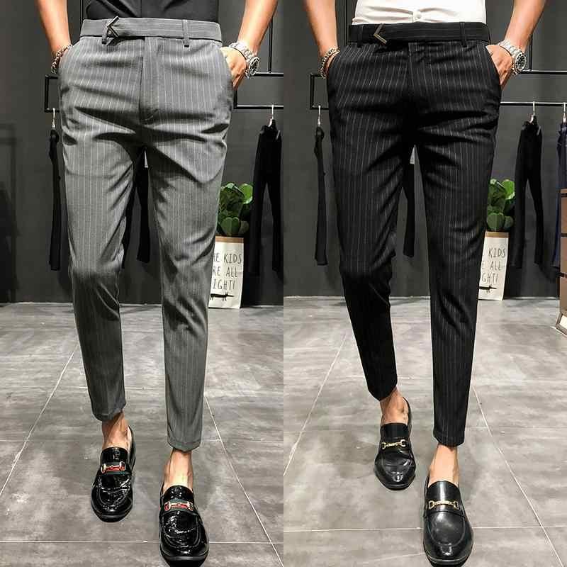 2020 Hombres Vestido Pantalon De Color Solido De Negocios Casual Slim Fit Hasta El Tobillo Pantalon Clasico De Moda Liso Traje Pantalones Boda Pantalones De Traje Aliexpress
