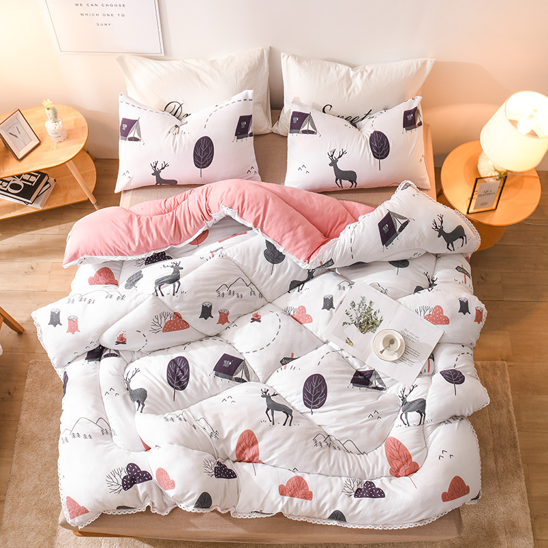 Colorful Thicken Duvet With Stuffing Patchwork Quilt Winter Thicken Comforter Warm Winter Bed Cover Grey Bedset 220*240, <font><b>150*200</b></font> image